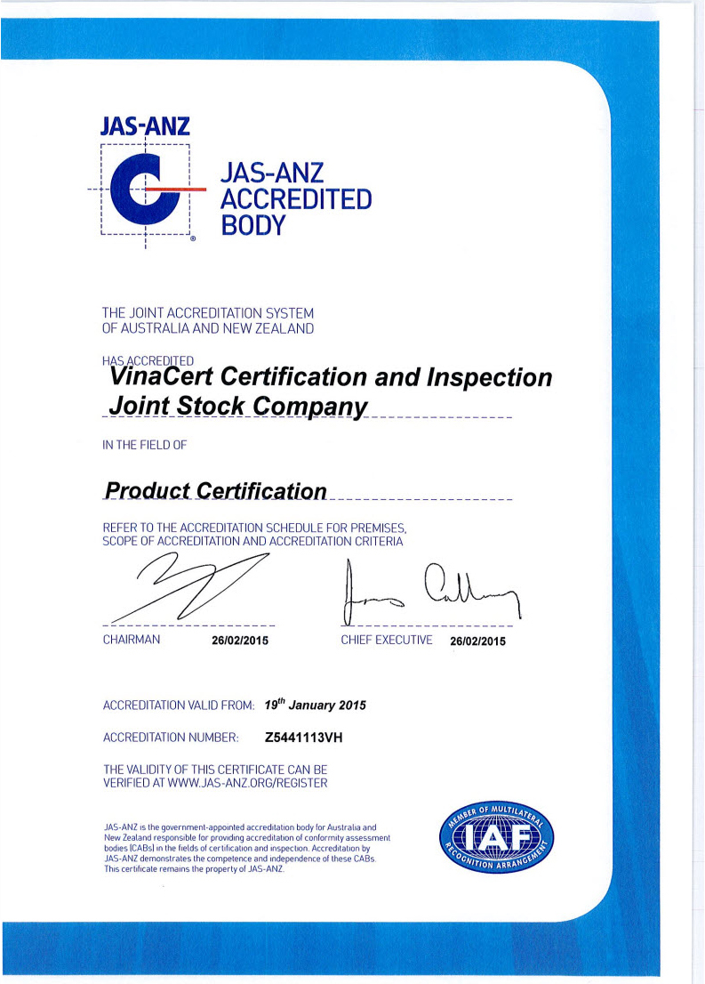 Chứng chỉ công nhận ISO/IEC 17065:2012 của VinaCert trong lĩnh vực chứng nhận sản phẩm