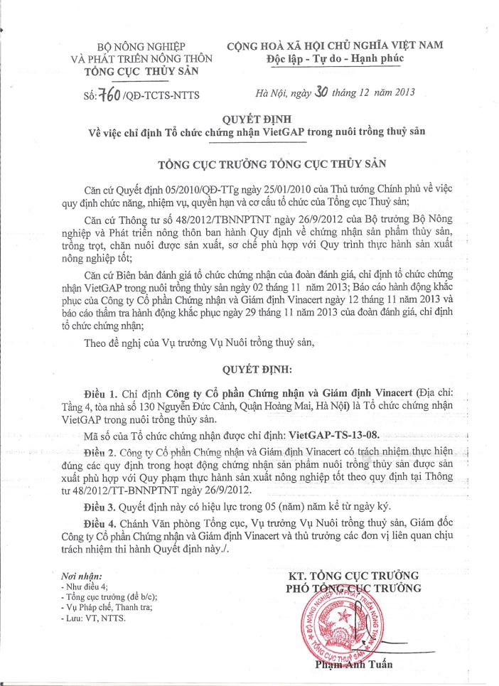Quyết định số 760/QĐ-TCTS-NTTS về việc chỉ định VinaCert là tổ chức chứng nhận VietGAP thủy sản